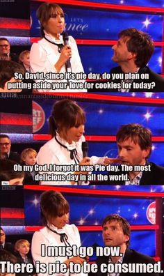 David Tennant's reaction to Pie Day