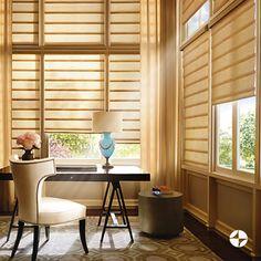 VIGNETTE   O design clássico da cortina Vignette proporciona  leva elegância aos ambientes. Seus gomos de tecido não amassam e possuem o verso branco, o que confere um acabamento uniforme à fachada. #cortina #vignette #decoracao #HunterDouglas #SpenglerDecor