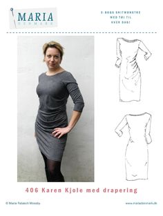 Vi er mange der er glade for Karen-kjolen med draperinger. Jeg er i hvert fald. Og jeg kan se på de mange mails fra jer, at det er der også mange andre, der er. Men jeg har jo også hørt fra et par stykker, der synes at det med at samle draperings-læggene er lidt svært …