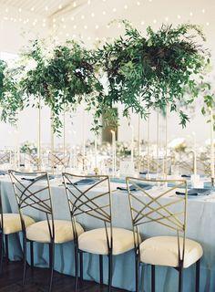 friendly greenery wedding decor ideas you can't miss 54 Greenery Centerpiece, Flower Centerpieces, Centrepieces, Centerpiece Ideas, Masquerade Centerpieces, Floral Wedding, Wedding Flowers, Blue Wedding, Wedding Reception Chairs