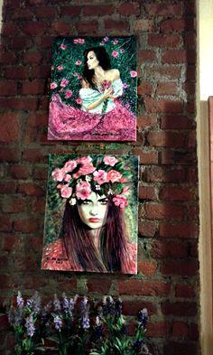 i  miei  quadri in  esposizione all'Osteria  del  Madrigale  a  Milano