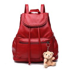 Ladies Vogue Fashion Solid-Colored High-Quality Leather Backpack w/Bear Charm 4 Colors
