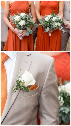 Fall bridal inspiration - orange and tan wedding colours fo the bridesmaids and groomsmen. Basketball Wedding, Hockey Wedding, Wedding Tux, Autumn Wedding, Golf Wedding, Barn Wedding Inspiration, Bridesmaid Inspiration, Wedding Ideas, Wedding Colors