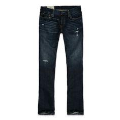 Slim boot jeans in destroyed dark wash