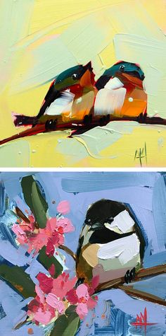 Chickadees, barn swallows, and goldcrest kinglets emerge from impasto oil paintings by Angela Moulton. The artist works in the aesthetic space between realistic and stylized, using natural tones that are slightly keyed up, and following the body and beak shapes of each bird while giving them just a bit of extra plumpness. Thick brush strokes form the birds' bodies in just a couple of deft swipes.