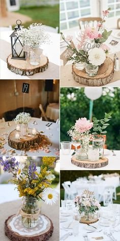 rustic chic wedding centerpieces with tree stumps You are in the right place about wedding decor lanterns Here we offer you the most beautiful pictures about the wedding decor centerpieces you are loo Shabby Chic Wedding Decor, Rustic Wedding Centerpieces, Vintage Shabby Chic, Centerpiece Ideas, Decor Wedding, Shabby Chic Centerpieces, Vintage Lace, Vintage Style, Centerpieces With Mason Jars