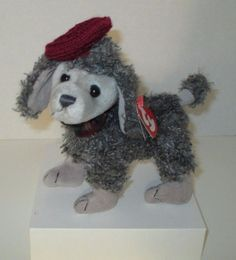 "Ty Attic Treasures ""Cheri"" Ooh La La Gray Poodle w/Beanie  #TyAtticTreasuresCollection"