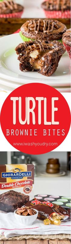 These Turtle Brownie Bites are ridiculously easy and taste so good! It's the filling on the inside that gets me every time! These Turtle Brownie Bites are ridiculously easy and taste so good! It's the filling on the inside that gets me every time! Brownie Desserts, Oreo Dessert, Mini Desserts, Brownie Recipes, Cheesecake Recipes, Just Desserts, Delicious Desserts, Dessert Recipes, Dessert Ideas