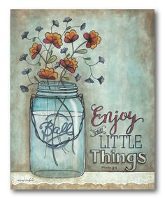 This 'Enjoy the Little Things' Wrapped Canvas by Courtside Market is perfect! #zulilyfinds