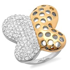 Butterfly Glamour Ring - 18K Gold Plating with Crystal Studding - Save 81% Just $14