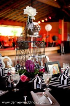 circus centerpieces | The long family style seating tables we called the tightrope walker ...
