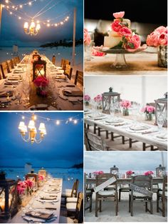 Call (310) 882-5039 if you are looking for Southern California celebrants. https://OfficiantGuy.com This pin is: beachy wedding decor, pink flowers, lanterns
