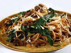 ** Eating Well added 1 T tahini** Lamb-Spaghetti-with-Spinach Spinach Recipes, Lamb Recipes, New Recipes, Favorite Recipes, Salmon Wellington Recipe, Wellington Food, Lamb Meatballs, Spaghetti And Meatballs, Lamb Pasta