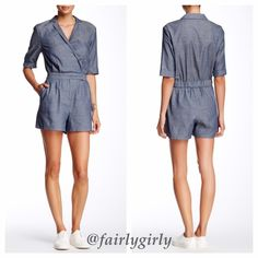 """HP 4/30  Short Sleeve Chambray Romper The smocked back of this short, cotton, surplice, romper gives it a tailored fit while still being comfortable. The notch collar, small front pleats, and rolled sleeves create a cute boyfriend look, while the zip fly, snap-button closure and two front slash pockets make it easy to wear. The bottom half is fully lined.  Approximately 31.5"""" long with a 4"""" inseam.  The model is 5'9"""" 34-25-35 and is wearing a S.  shell 100% cotton, lining 100% polyester…"""