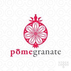 Logo For Sale: Modern and elegant design interpretation of a pomegranate. Cross section with a beautiful floral pattern contained within the center.