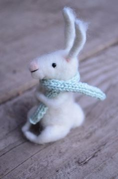 Little bunny with scarf  needle felted ornament by feltingdreams