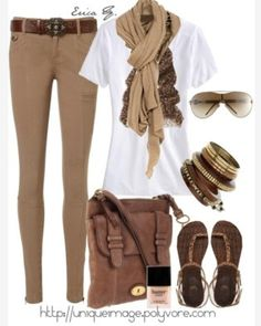 Tan jeans - skip the scarves and bracelets. not so tight on the jeans.