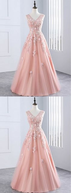 Pink Applique Long Prom Dresses V-Neck A-Line Evening Dresses, Ball Gown Prom Dresses