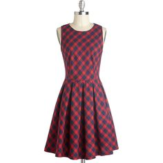 Curriculum of Cuteness Dress ($75) ❤ liked on Polyvore featuring dresses, modcloth, a-line, casual, cotton, mid-length, plaid, sleeveless, woven and print dress