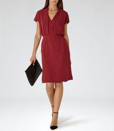 Womens Rouge V-neck Shift Dress - Reiss Dania