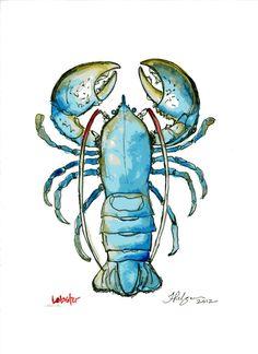 Un petit homard tout bleu, signé Tiffany Pelczar.  Venez nous visiter au Crackpot Café pour réaliser votre prochain projet de peinture sur céramique!