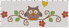 Handicraft: Patterns with owls for embroidery / Owl cross stitch patterns Cross Stitch Owl, Cross Stitch Borders, Cross Stitch Animals, Cross Stitch Designs, Cross Stitching, Cross Stitch Embroidery, Cross Stitch Patterns, Owl Patterns, Knitting Patterns