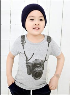 fa44ac23c52 Hot Sale Summer Cotton Baby T-shirts Boy Kids Camera Short Sleeve Cartoon  Tops Children T-shirt 2017 Casual Tees Clothes Gray