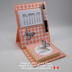 Simple easel card with 2019 calendar and Post-It note pad created using the Butterfly Gala Stamp Set and Gingham Gala DSP from the Gingham Gala suite of products from Stampin Up! www.papercraftwithme.com