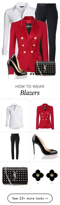 """Louboutin Pumps"" by daiscat on Polyvore featuring NIC+ZOE, Emanuel Ungaro, Balmain, Christian Louboutin, Yves Saint Laurent and Tory Burch"
