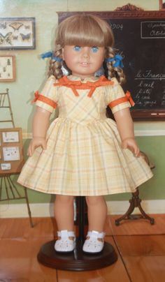 American Girl 1940s Yellow Plaid Dress by RuthielovestoSew on Etsy, $34.00