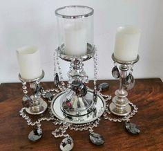 Candelabros con cristales de vidrio