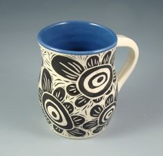 blue, black, white, handmade, mug, flowers, sgraffito, pottery Slab Pottery, Pottery Mugs, Ceramic Pottery, Pottery Art, Pottery Ideas, Sgraffito, Pottery Painting, Ceramic Painting, Ceramic Cups