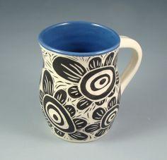 blue, black, white, handmade, mug, flowers, sgraffito, pottery