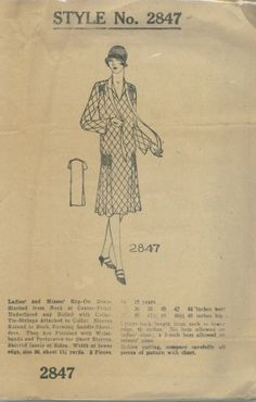 Betty Ann 2847; ca. 1920s;  Ladies and Misses' Slip-On Dress.  Slashed from neck at center-front underfaced and rolled with collar.  Tie-strings attached to collar.  Sleeves extend to neck forming saddle shoulders.  They are finished with wristbands and perforated for short sleeves.  Shirred insets at sides.