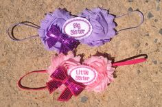 Set of 2 Little Sister, Big Sister Matching Shabby Chic Pink and Purple Baby, Toddler Headbands