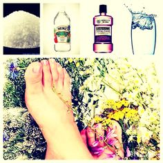 cup of Epsom salt, cup of vinegar, cup of listerine, cup of water. Put it in a bowl mix it all up. Soak each foot in the mixture for about 5 minutes, then rinse. In the end your feet will be as smooth as a baby's rear end. Face Scrub Homemade, Homemade Skin Care, Epsom Salt For Hair, Salt Hair, Epsom Salt Cleanse, Diy Foot Soak, Foot Remedies, Acne Face Mask, Listerine
