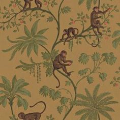 8 in. x 10 in. Earth Tone Jungle of Monkeys Wallpaper Sample-WC1280515S at The Home Depot