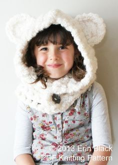 """Yardage: 5 balls @ 160 yards/ballThis Chunky Polar Bear Hood is crocheted using multiple strands of yarn to create a modern, warm and cozy chunky textile. With lots of pictures and instructions included with the pattern, this is an easy to follow how-to.Includes instructions to make Toddler size (approx. 11"""" deep x 15"""" high); Child size (approx. 12.5"""" deep x 17"""" high); and Adult size (approx. 14"""" deep x 19.5"""" high) hoods."""
