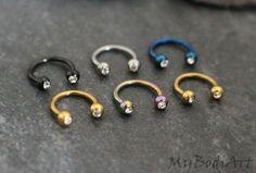 Gold Septum Piercing, Horseshoe Septum Ring 16G, Septum Horseshoe, Nose Ring, Horse Shoe Barbell, Crystal Septum,Septum Jewelry,Nose Jewelry