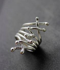 LISTO PARA ENVIAR  anillo ramas de la declaración de la plata esterlina de…
