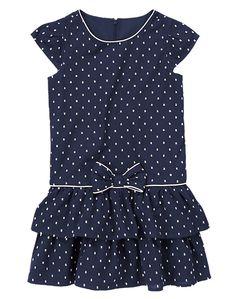 Navy Swiss Dot Ruffle Dress Girls 3-12 years