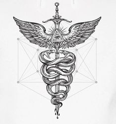 Our super detailed medical Staff of Hermes Cadeceus w/Sacred Geometry is always on call.Is there a Doctor/Nurse/EMT in the house?Design in black & white In black or white.size design to your liking and put on any CUT/COLOR/BLEND of name brand apparel & Ems Tattoos, Black Ink Tattoos, Body Art Tattoos, Sleeve Tattoos, Cool Tattoos, Black Art Tattoo, Hermes Tattoo, Kundalini Tattoo, Caduceus Tattoo