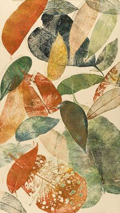 Autumn leaf I by Mariann Johansen Ellis  ::   a monoprint/monotype printed with natural leaves, inked up in etching inks, added gold and metallic inks.