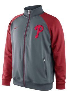 Philadelphia Phillies Nike Mens Red Track Jacket $65 http://www.rallyhouse.com/shop/philadelphia-phillies-nike-philadelphia-phillies-nike-mens-red-track-jacket-12517331