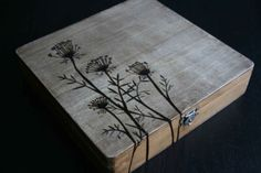 Queen Anne Woodburned Box - Driftwood Stain