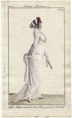 An 9 Costume Parisien #325 Coeffure Oblongue, ornée d'un Pavot. Canezou garni de Dentelle