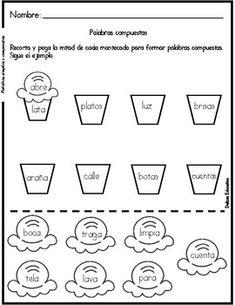 Palabras simples y compuestas Spanish Words, Spanish Language, Spanish Teacher, Teaching Spanish, 2nd Grade Grammar, First Day Of School Activities, Bilingual Classroom, Compound Words, College Classes
