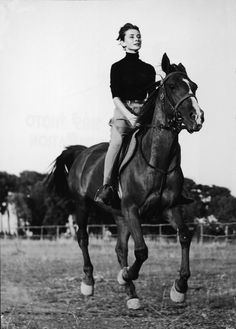 Audrey and horse. Elegant in anything she did. What breeding!