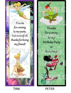 PETER PAN TINKERBELL NEVERLAND BIRTHDAY PARTY Laminated Bookmarks PARTY FAVOR  #BirthdayChild