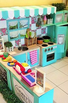 How 1 Mom Turned Leftover Cardboard Boxes Into themmn  Most Incredible Play Kitchen You've Ever Seen